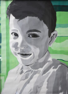 "Painting of ""Lil Bro"" by Christopher Jauregui, acrylic on paper."
