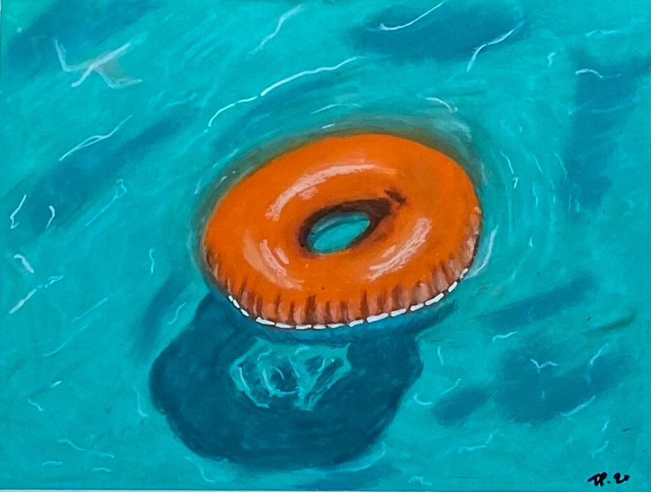 "Torri Parson, ""Float"", oil pastel on paper"