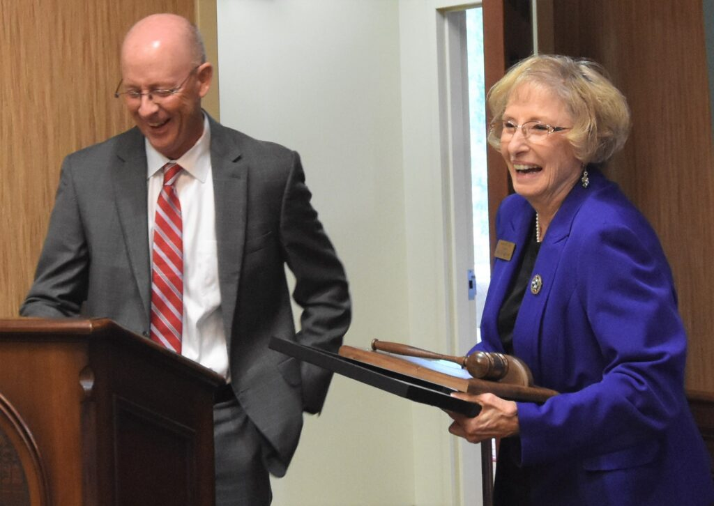 Dr. Kinlaw and outgoing Board of Trustees Chair Janice Tate share a laugh.