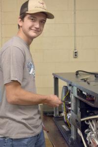 HVAC student Brison Knowles