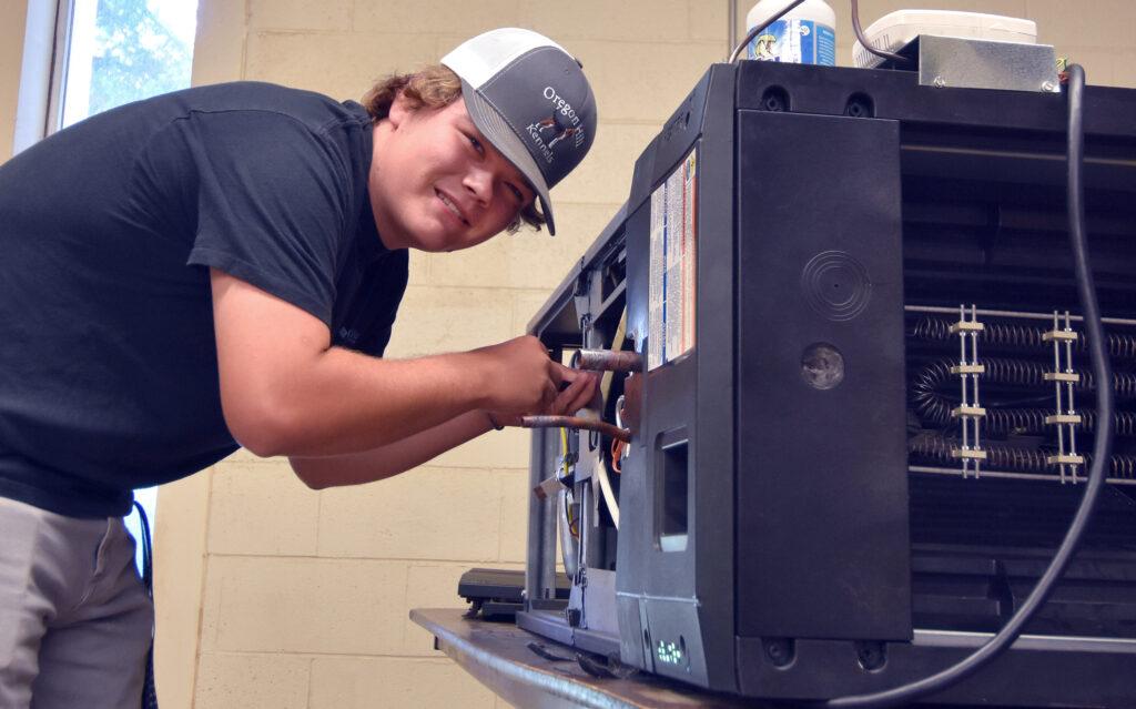 HVAC student Luke Hazelwood